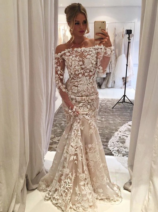 Cheap Mermaid Off Shoulder Light Champagne Tulle Appliques Wedding Dress With Sleeves
