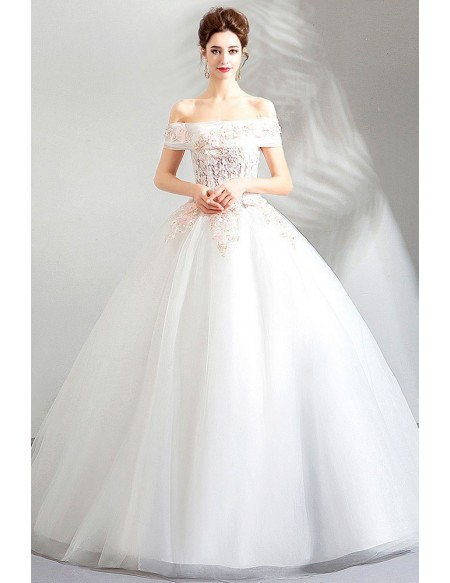 Shop Beautiful Elegant Off The Shoulder Ball Gown White Lace Cheap Wedding Dress From Annakoo,Cheap Short Wedding Dresses Online